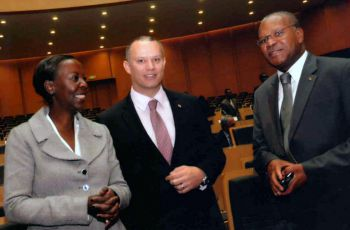 Ambassador Nourrice, Minister Adam, and Rwandan Foreign Mrs. Minister Mushiwikabo at the AU Council of Ministers, April 2013